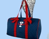 Monogrammed Duffle Bag Quilted Navy With Red Trim-Personalization Included