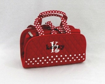Personalized 3 Piece Cosmetic Bag Red With White Polka Dots