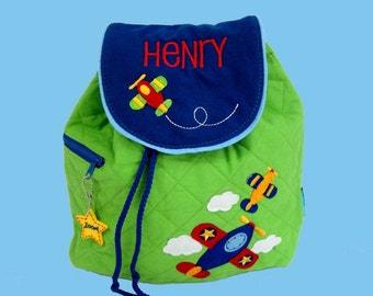 Personalized Child's Stephen Joseph Quilted AIRPLANE Themed Backpack-Monogram Included
