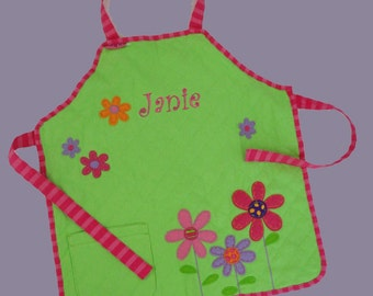 Personalized Stephen Joseph Quilted FLOWERS Apron in Bright Green