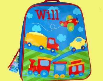 Personalized Stephen Joseph GoGo Backpack TRANSPORTATION Themed Bag in Blue Red Yellow and Green