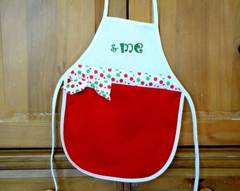 Child's Personalized Holiday Apron in Red With Green and White