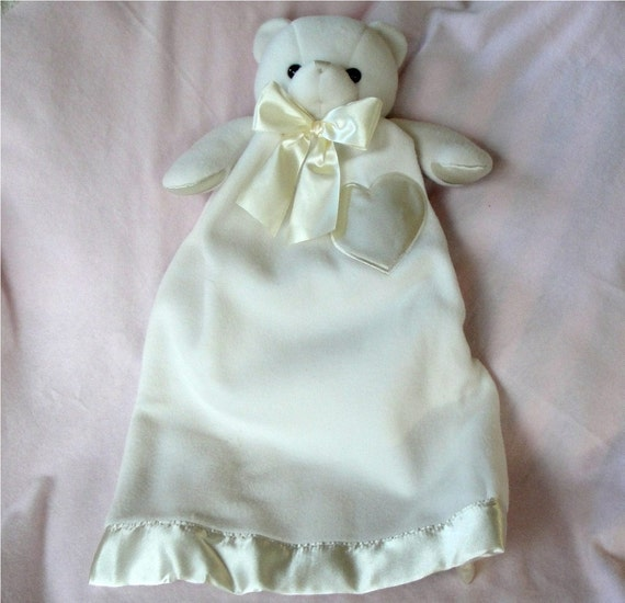 Lovie Bernhardt Bear Cream Colored Security Blanket Stuffed