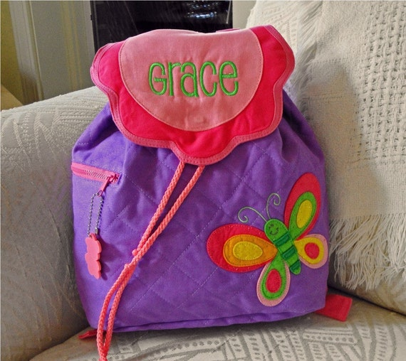 Child's Stephen Joseph Purple BUTTERFLY Backpack With Free Personalization