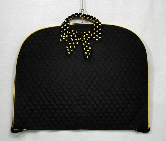 personalized quilted garment bag black with black and gold