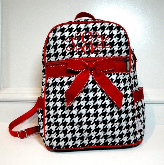 Personalized Medium SizeBlack and White Houndstooth Print Backpack With Red Trim-Monogramming Included
