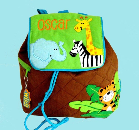 Personalized Stephen Joseph Backpack ZOO Themed Brown and Bright Green