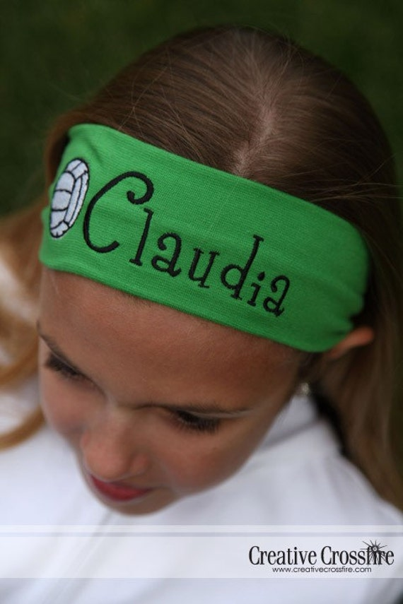 personalized girls headband with volleyball in kelly green