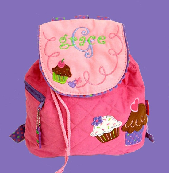 Stephen Joseph Quilted CUPCAKE Backpack in Pink With Monogramming Included