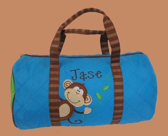 Child's Personalized Stephen JosephDuffle Bag  MONKEY BOY-Monogram Included In Price