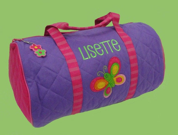 Stephen Joseph Child's Purple BUTTERFLY Duffle Bag Personalized For Free