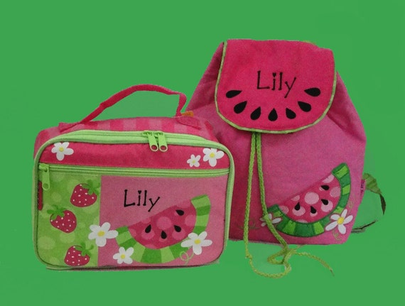 Personalized Stephen Joseph WATERMELON School Set Including 1 Quilted Backpack and 1 Lunchbox