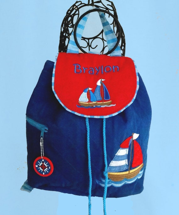 Personalized Quilted Stephen JosephBlue And Red NAUTICAL Backpack