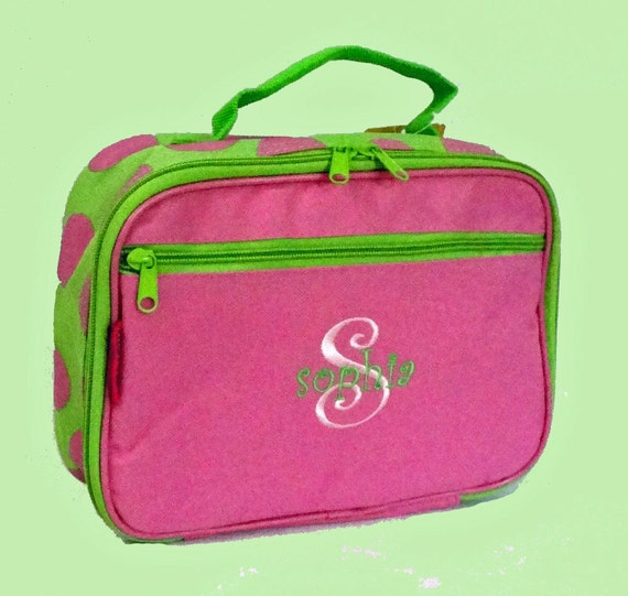 Personalized Stephen Joseph Lunchbox in Pink and Lime Green From The Simply Stephen Line