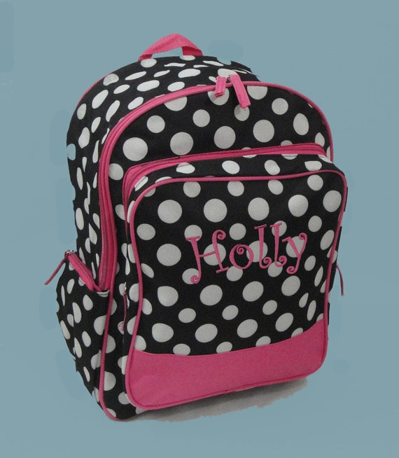 Personalized Backpack In A Fun Black With White Polka Dots And Hot Pink Trim