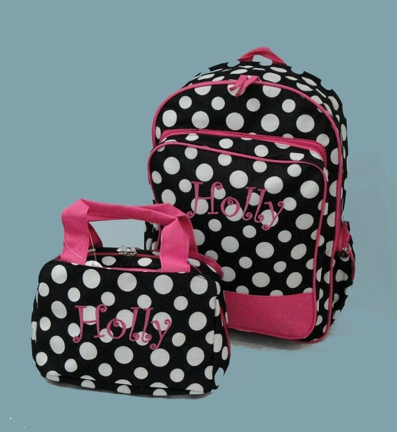 Personalized Backpack and Lunch Bag In A Fun Black With White Polka Dot Print Trimmed In Hot Pink