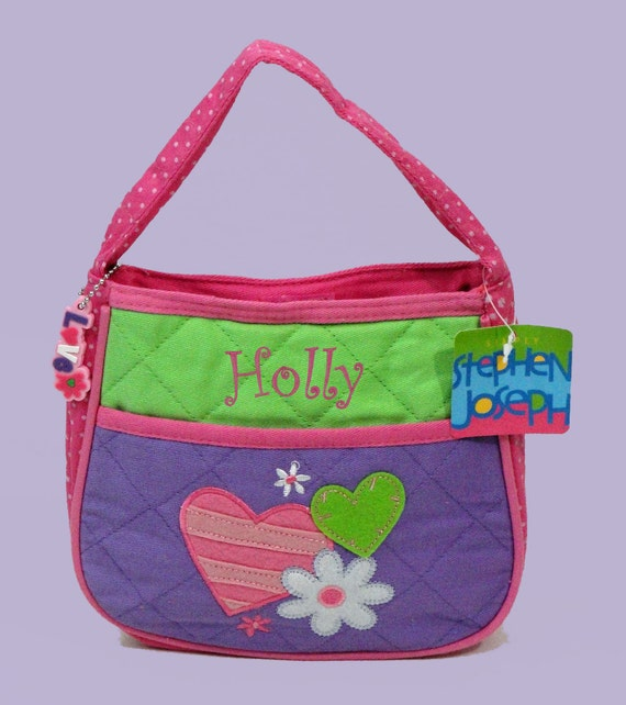 Personalized Child's Stephen Joseph Quilted HEARTS Purse