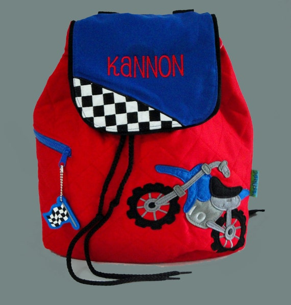 Personalized Stephen Joseph Backpack MOTOCROSS Style With Motorcycle And Checkered Flag In Red and Blue