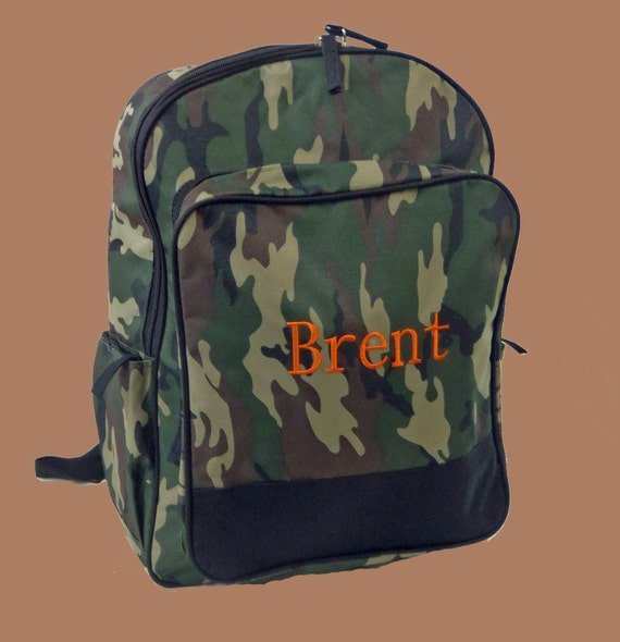 Personalized Camo Backpack in Green Brown Black Print