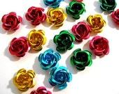 Bright Mixed Color aluminum Rose Cabochons 15mm 30pcs