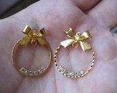 Earring Findings Gold Crystal Rhinestone And Bow Earring Finding and Connector(25mm)4pcs
