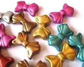 Cute Colorful Acrylic Bow Beads(15mm)25 pcs