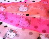 Cute Neon Colors Kitty Deco Ribbon 3 Styles 1 Foot Each 1 yard Total 1 INCH width