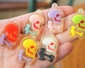 Kitsch Charms Cute Lucite Colorful Skull And Bones Bleeding Charms 4pcs 33mm