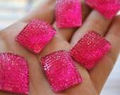 Decoden Hot Pink Sparkly Resin Rhinestone Rectangle Cabochons 10 pcs 24mm