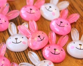 Decoden Cute Resin Bunny Head Cabochons 6pcs 21mm