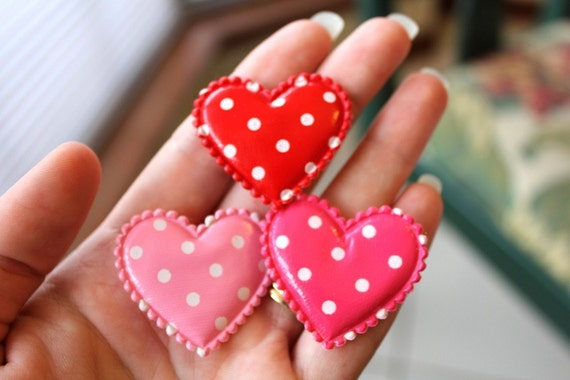 Vinyl Polka Dot Heart Appliques Red,Pink,Hot Pink(35mm)5pcs