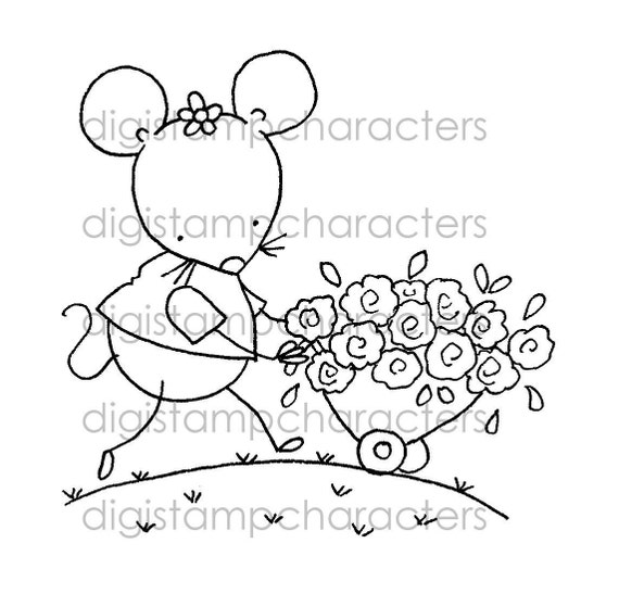 Mouse In The House - Digital Stamp 020 - Mother's Day, Happy Birthday, Birthday