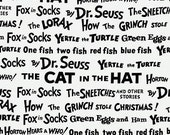 Celebrate Seuss by Robert Kaufman - 1/2 Yard Words in Black and White