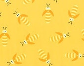 Beetle Boy by Ellen Crimi-Trent for Clothworks - 1/2 Yard Yellow Tonal Bugs