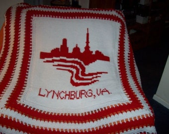 Crochet Afghan of Lynchburg, Va ( Red)