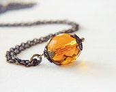 Sunflower Yellow Czech Glass Necklace, Filigree Orange Nature Inspired, Victorian Fairytale Bride Groom Bridal Gothic Jewellery