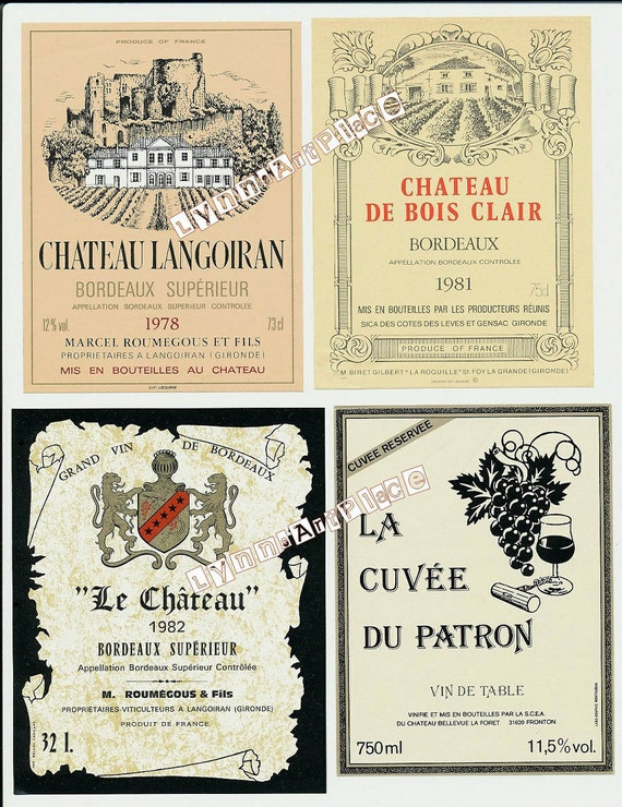 Vintage French Wine Labels - Instant Digital DownloadVintage French Wine Labels