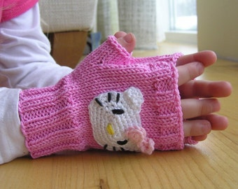 Childs fingerless gloves, Pink Gloves, Kitty Mittens, 3 sizes, 100% cotton, Arm Warmers