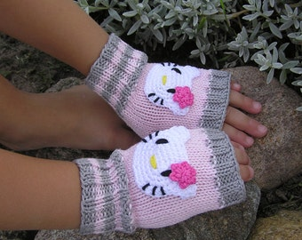 Handknit Wrist Warmers/ Fingerless gloves Kitty