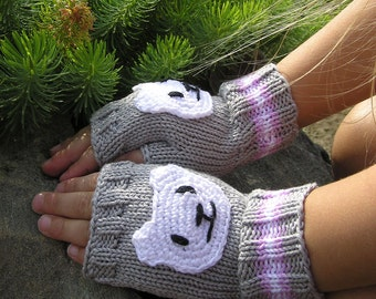 Knitted Child Fingerless Gloves, 3 sizes, Polar Bear appliques, 100% cotton, Kids Arm Warmers