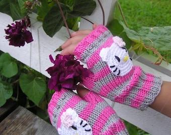 Kids fingerless gloves,Handknit,  3 sizes, Kitty Mittens, 100% cotton, Childs Arm Warmers