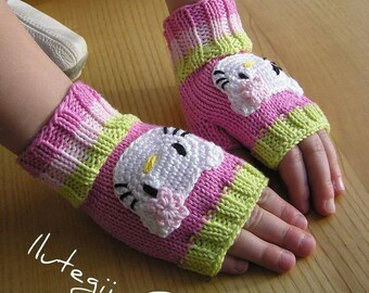 3 sizes Wrist Warmers/ Fingerless gloves with Kitty