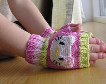 Sale, Childrens fingerless gloves, Kitty Gloves, Kitty Mittens, 3 sizes, 100% cotton, Arm Warmers, Fingerless gloves, handmade