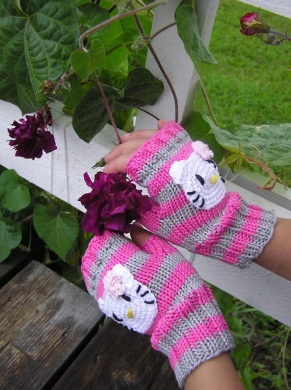 3 sizes..Hand Knit Cute Pink Stripe Hello Kitty Wrist Warmers