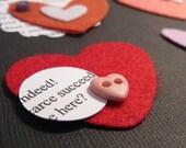 Felt Heart Embellishments - Love Poems - Hearts - Valentines Day - Mixed Media