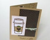 Gift Card Holder - Thank You Card - Thanks a Latte Card - Coffee