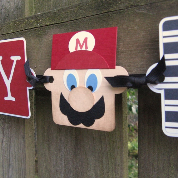 Mario Birthday Banner, It's Mario Time, Happy Birthday Garland, Birthday Banner, Birthday Garland, Mario, Super Mario, Mario Birthday