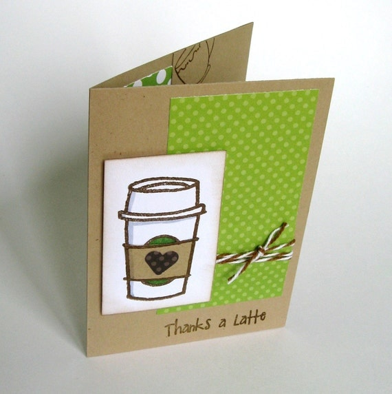 Thanks a Latte Card and Gift Card Holder - Thank You Card- set of 16