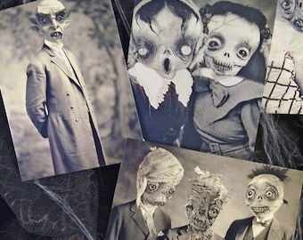 Set of 5 original Postcards -Set Halloween - monsters mummy zombie horror ghost scarecrow witches skull nosferatu vampire freak  art doll