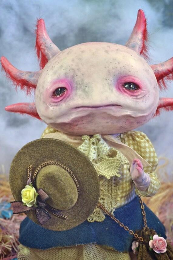 Carlota Ajolota  ART DOLL ooak sculpt Axolotl